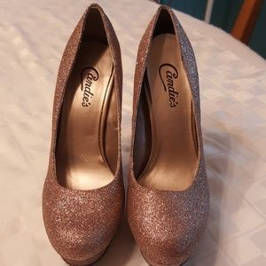 Rose gold glitter Candie's size 7